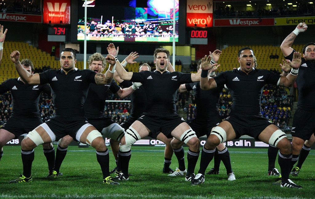 The All Blacks perform the haka in the new jersey before the All Black v South Africa test match at Westpac Stadium, Wellington, NZ. 30 July 2011 Credit: Jo Caird/RugbyImages