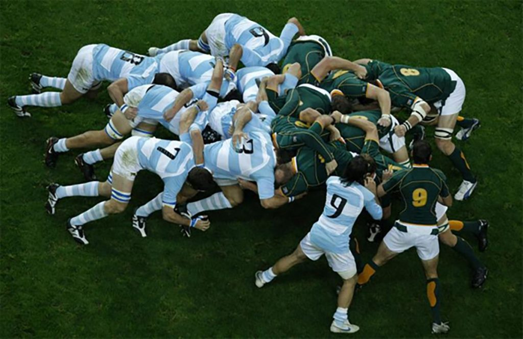 South Africa, right, and Argentina contest a scrum during the Rugby World Cup semifinal match between Argentina and South Africa, at the Stade de France stadium in Saint Denis, outside Paris, Sunday Oct.14, 2007. South Africa won the match 37-13. (AP Photo/Matt Dunham)